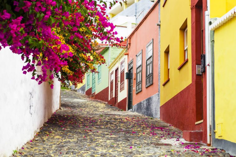 Colorful and street with flowers In Santa Cruz, La Palma, Canary Islands
