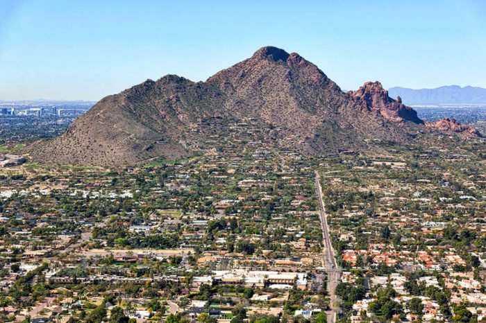 Aerial view of Camelback Mountain from Scottsdale, Arizona looking west up Jackrabbit Road