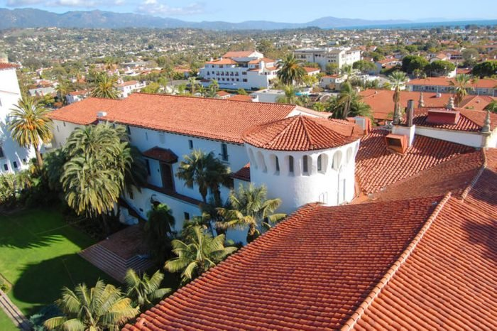 Santa Barbara skyline from Santa Barbara Superior Court, downtown Santa Barbara, California, USA