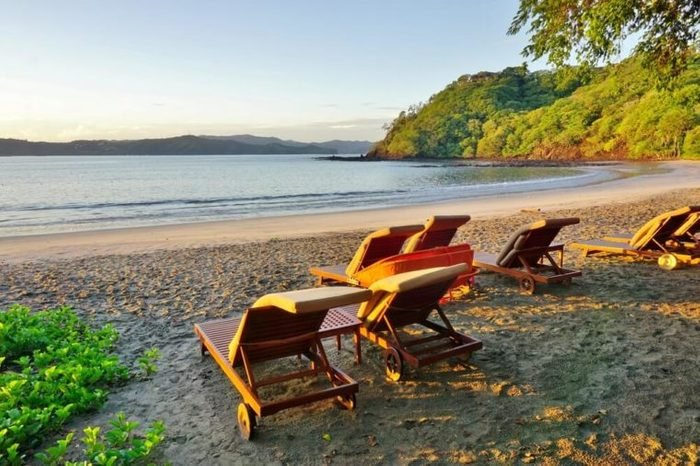Sun rising over the Playa Blanca beach in Peninsula Papagayo in Guanacaste, Costa Rica