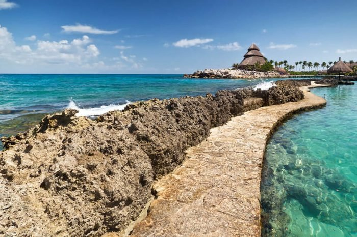 Path at the Caribbean Sea in Mexico