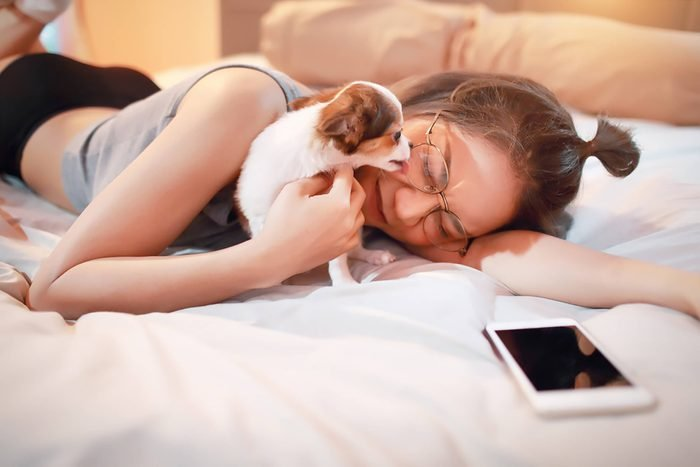 adorable puppy licks a woman's face on a bed