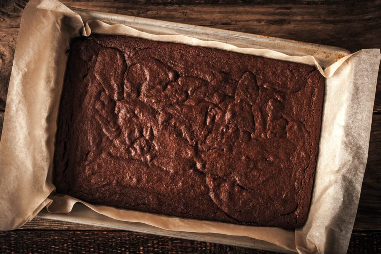 Chocolate brownie on the baking tray