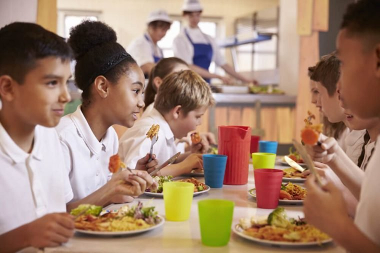 Primary school kids eat lunch in school cafeteria, close up