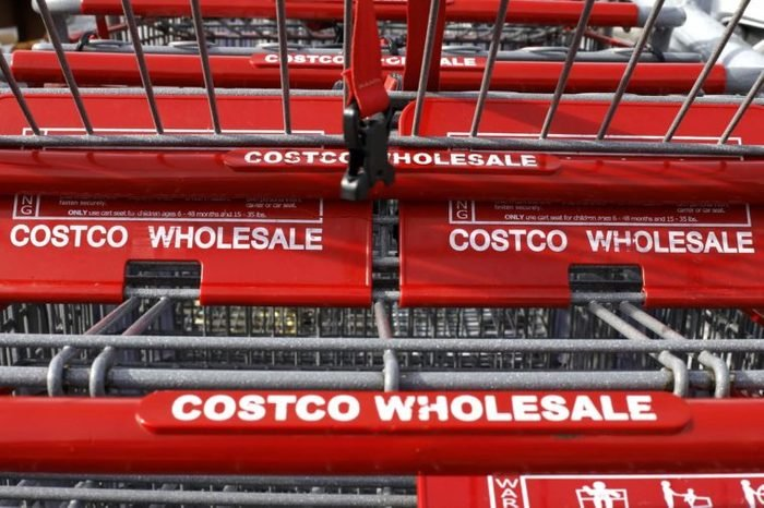 This, photo shows shopping carts at a Costco in Homestead, Pa