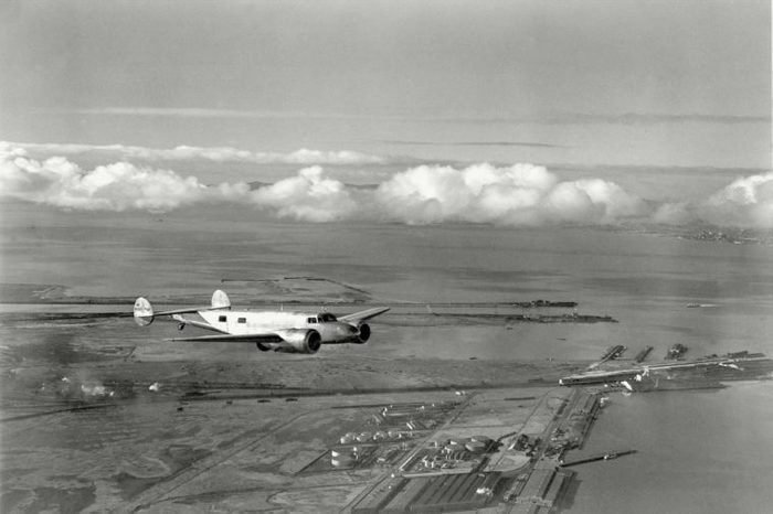 Earhart Amelia Earhart takes the $80,000 flying laboratory for a trial run over San Francisco Bay, Oakland, Ca., for her around-the-world flight