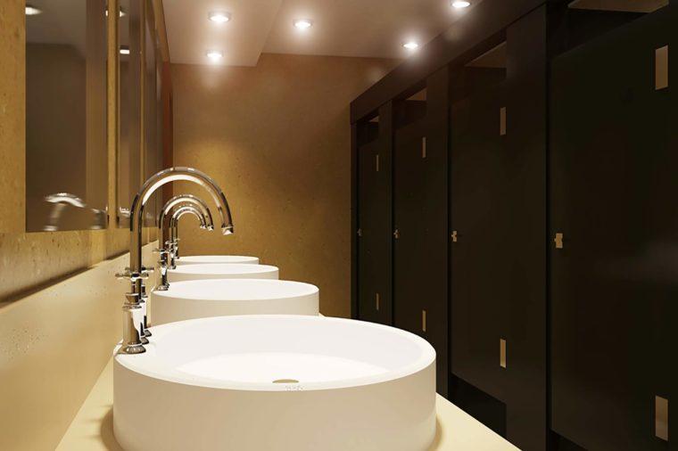Public restroom. 3D Render