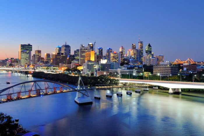 Brisbane city skyline and Brisbane river viewing from Kangaroo Point