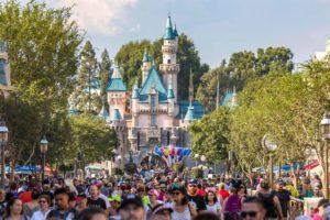 Sleeping Beauty Castle, front crowd, Disneyland Park, Disneyland Resort, Anaheim, California, USA