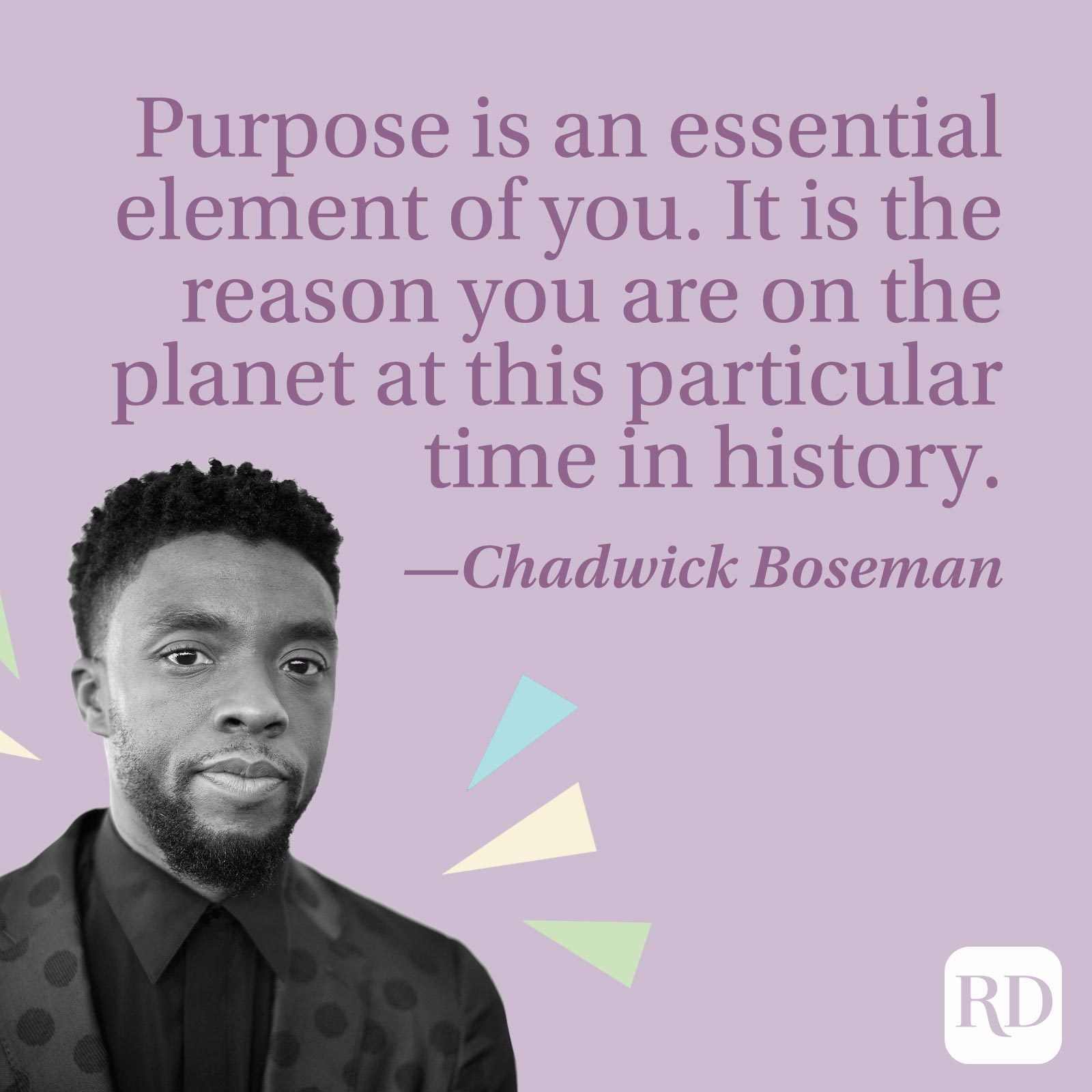 """""""Purpose is an essential element of you. It is the reason you are on the planet at this particular time in history."""" —Chadwick Boseman"""