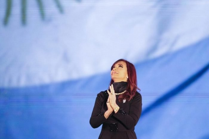 Argentinean President Cristina Fernández De Kirchner Looks to the Skies During the Commemoration of the 203 Years of the May Revolution and the Tenth Anniversary of the Arrival of Néstor Kirchner to the Power on 25 May 2003 at the May Square (plaza De Mayo) in the City of Buenos Aires Argentina 25 May 2013 Argentina Buenos Aires
