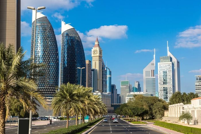 Skyscrapers in Dubai in a summer day