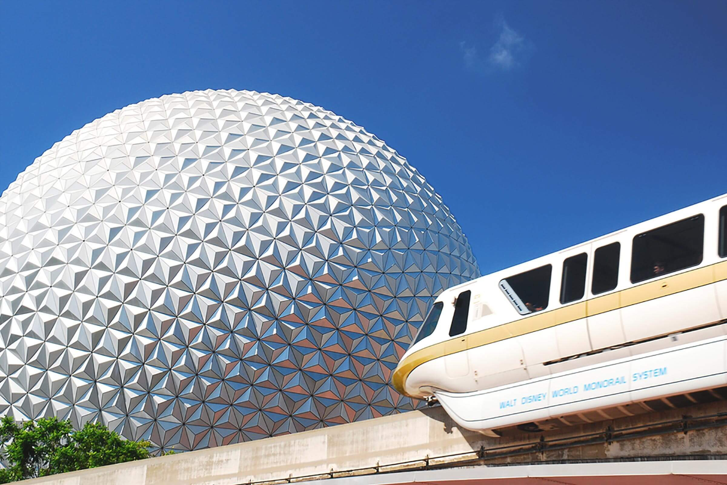 Orlando, FL, USA July 22, 2011 A monorail passes in front of Spaceship Earth at Epcot Center in Walt Disney World in Orlando, Florida