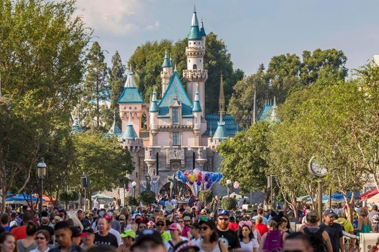 Sleeping Beauty Castle, front crowd, Disneyland Park, Disneyland Resort, Anaheim, California, USA