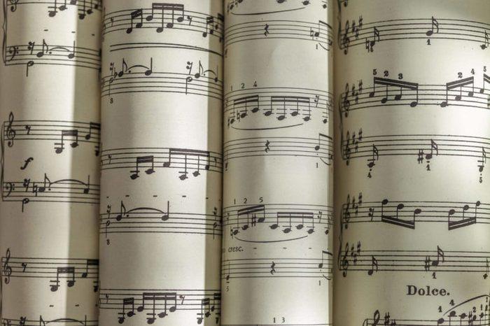 Scrolls of sheet music
