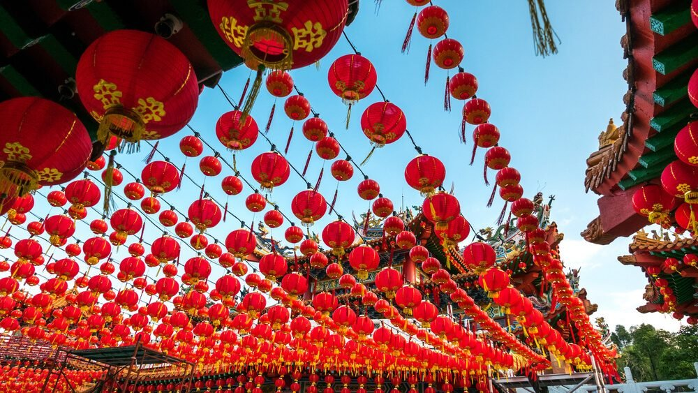 The Thean Hou Temple with up hundreds of lanterns hung across the courtyard in preparation for the coming Chinese New Year.