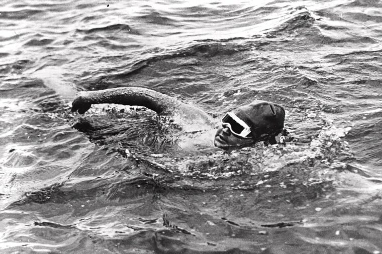 EDERLE Nineteen-year-old Gertrude Ederle of New York City becomes the first woman to swim the English Channel, as she crosses the waterway in 14 hours and 31 minutes