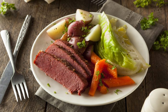 Homemade Corned Beef and Cabbage with Carrots and Potatoes. St Patricks Day fun facts.