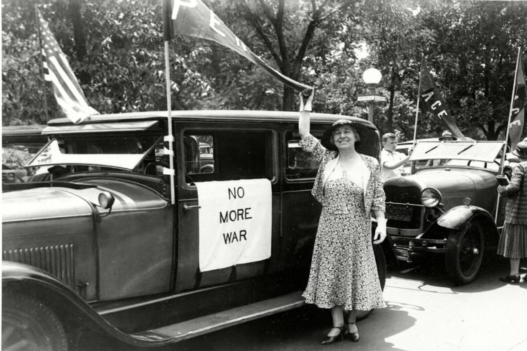 Rankin Former U.S. congresswoman Jeannette Rankin (R-Montana) prepares to leave Washington, for a speaking tour calling for a peace plank in the Republican and Democratic party platforms. As the first woman elected to Congress, she did not vote for war in 1917