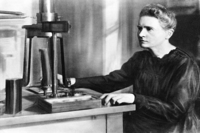 Portrait of Marie Curie in laboratory