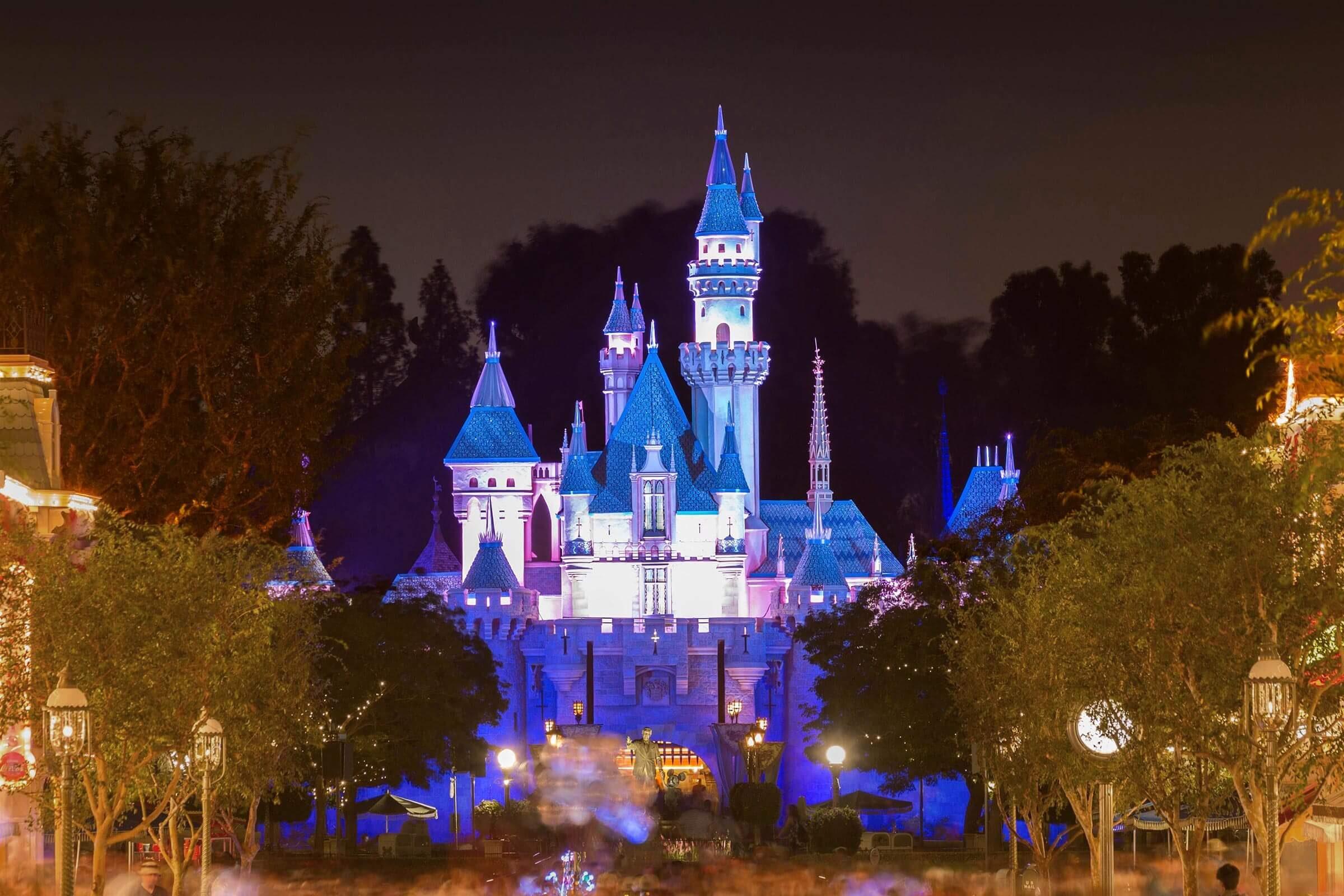 Sleeping Beauty Castle by night, Disneyland Park, Disneyland Resort, Anaheim, California, USA