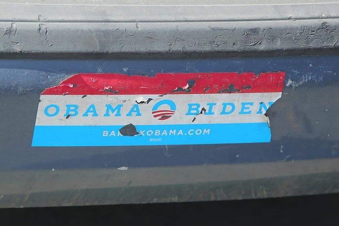 NEW YORK- MARCH 19, 2016: Old presidential election 2008 Obama Biden bumper sticker