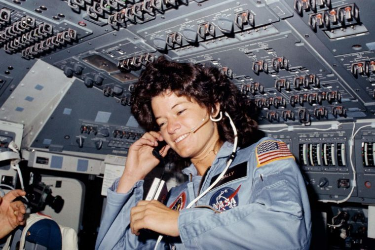 STS-7 mission specialist, Sally K. Ride on the flight deck of the space shuttle Challenger