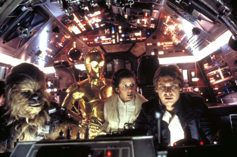 Peter Mayhew, Anthony Daniels, Carrie Fisher, Harrison Ford