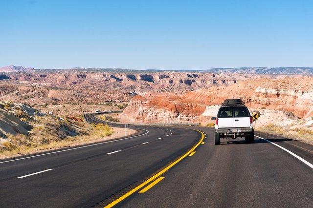 A car on the road in arizona