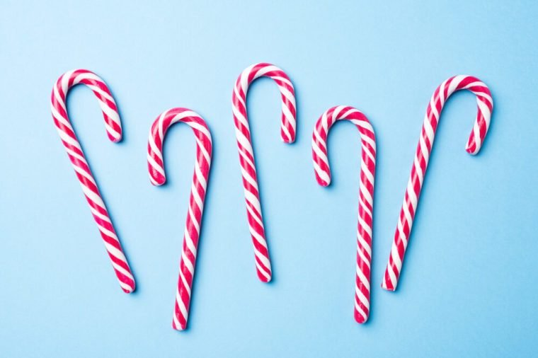 Candy canes on blue background