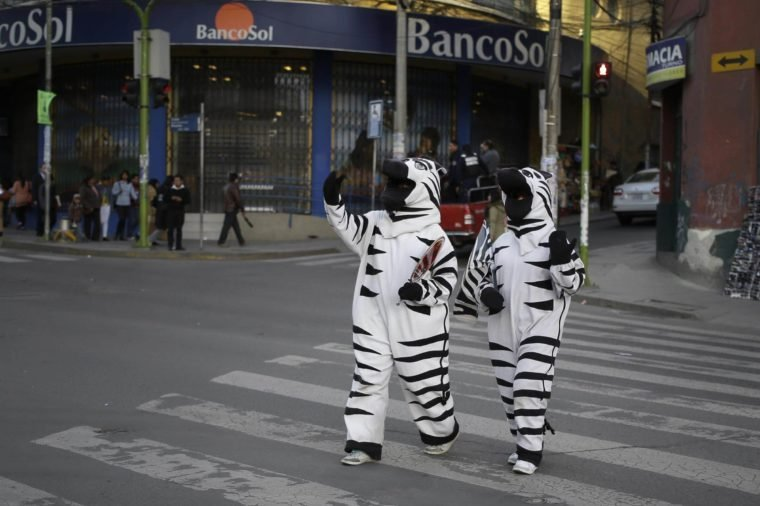 Two women dressed with zebra costumes, talk while crossing an avenue in La Paz, Bolivia, . Bolivia will hold general elections on Sunday 12