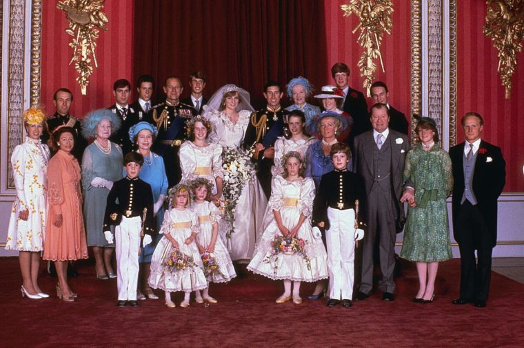 Prince Charles, Princess Diana Prince Charles and his new bride Diana, Princess of Wales, pose for a family portrait with other members of the royal family, in the Throne Room of Buckingham Palace, on their wedding day