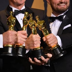 LOS ANGELES, CA. February 26, 2017: Winners holding their Oscar trophies in the photo room at the 89th Annual Academy Awards at the Dolby Theatre, Los Angeles.