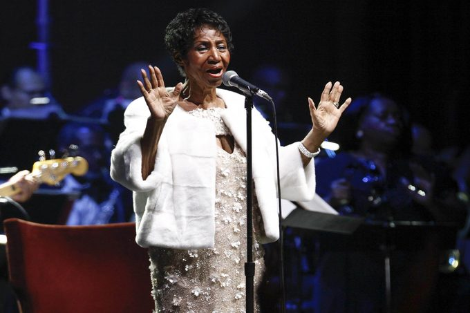 Aretha Franklin attends the Elton John AIDS Foundation's 25th Anniversary Gala at The Cathedral of St. John the Divine, in New York