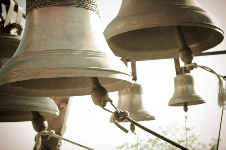 a lot of bells in a church
