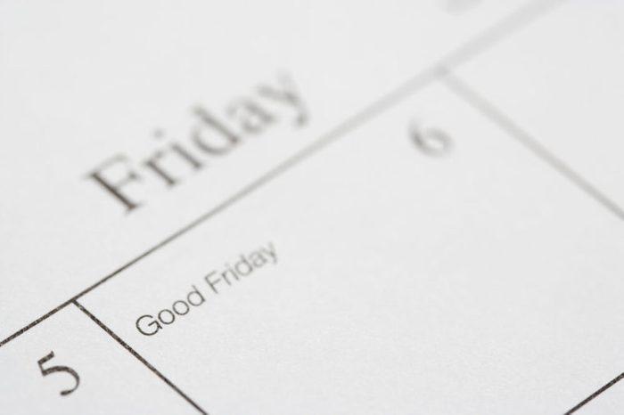 Close up of calendar displaying Good Friday.