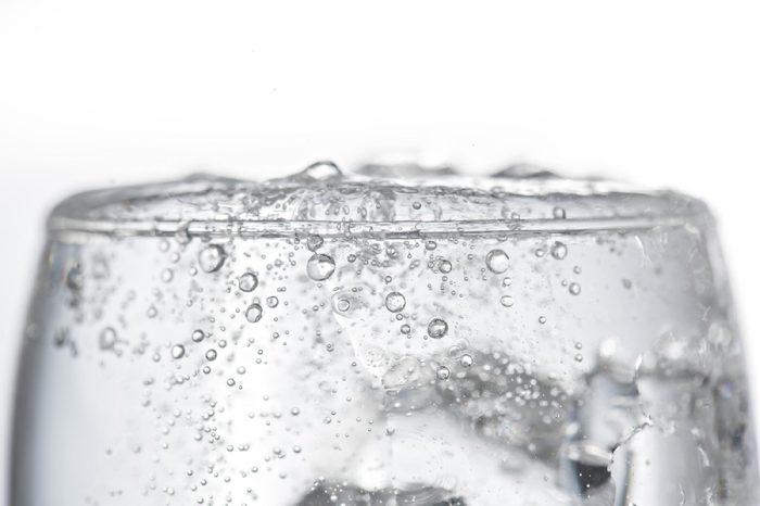 Soda bubbles in the glass.