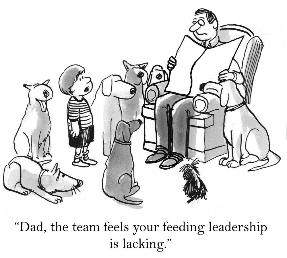 """Dad, the team feels your feeding leadership is lacking."""