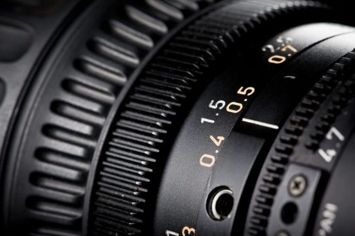Close-up of a Television Camera Lens.