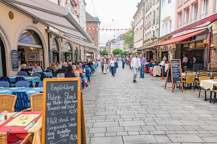 DUSSELDORF, GERMANY - JULY 28, 2016: Restaurants on the stree in Altstadt of Dusseldorf, Germany.