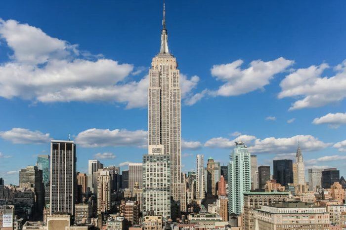 View over the empire state building from a roof top in New York City, USA