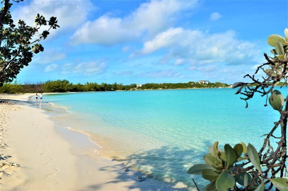 The beautiful white beach of Great Exuma in Georgetown, The Bahamas