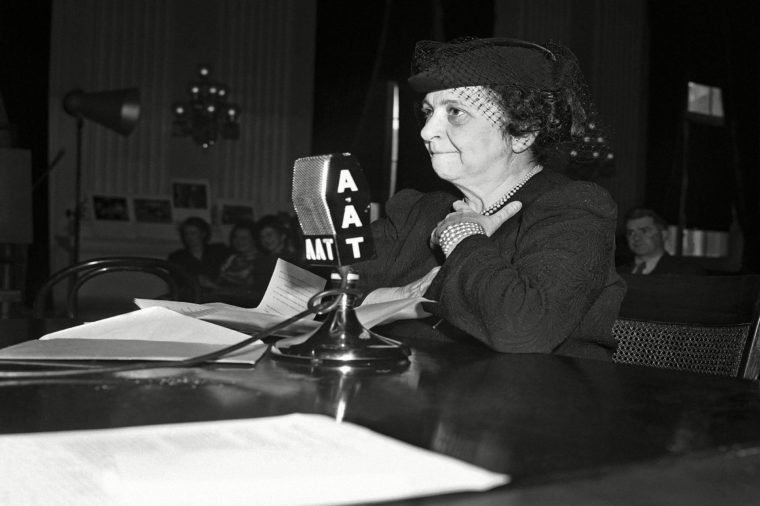 "Frances Perkins Secretary of labor Frances Perkins testifies, before the house committee on interstate migration, advocating extension of the benefits of certain social legislation to the ""Okies"" and ""Arkies,"" migrant farm workers she said the migrants should be placed under the wage-hour law, social security act and other legislation now covering other workers"