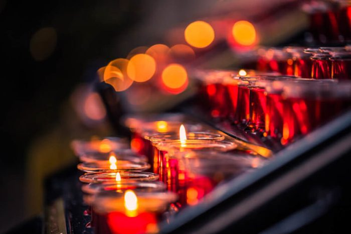 Candles Inside Saint Mary's cathedral in Gdansk, Poland