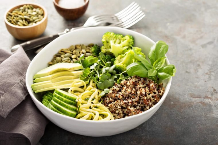 Green and healthy vegan grain bowl with quinoa, avocado, cucumber and zucchini noodles