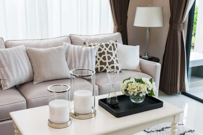 modern living room design with sofa and lamp