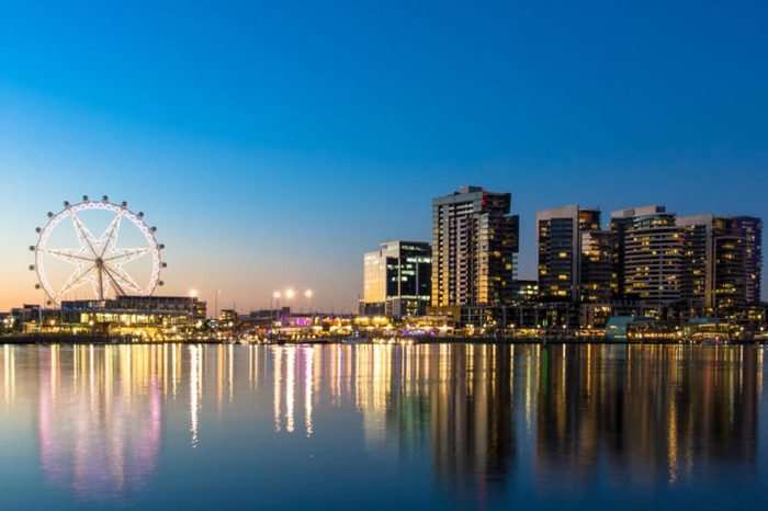 The docklands waterfront of Melbourne, Australia at night