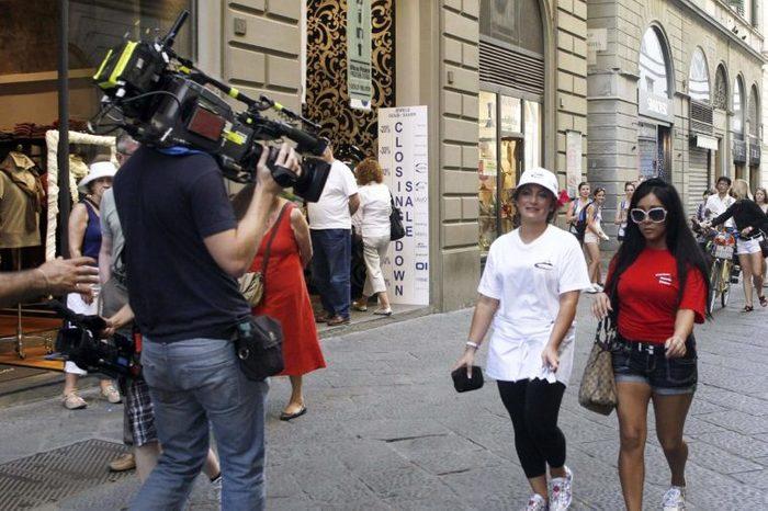 "Members of MTV reality show ""Jersey Shore"" Nicole ""Snooki"" Polizzi, right, and Nicole ""Deena"" Cortese walk along Via dei Calzaiuoli in Florence, Italy"
