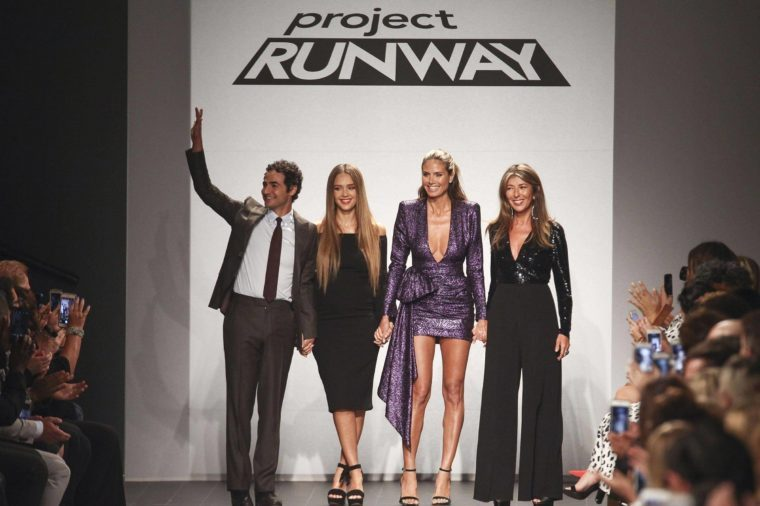 Zac Posen, Jessica Alba, Heidi Klum, Nina Garcia. Zac Posen, from left, Jessica Alba, Heidi Klum and Nina Garcia attend the NYFW Spring/Summer 2018 Project Runway fashion show at 550 Washington Street, in New York