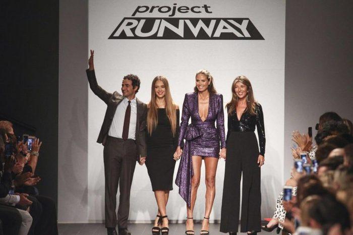 Zac Posen, Jessica Alba, Heidi Klum, Nina Garcia. Zac Posen, from left, Jessica Alba, Heidi Klum and Nina Garcia attend the NYFW Spring/Summer 2018 Project Runway fashion show at 550 Washington Street, in New York